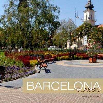 Barcelona Classic térkő háttérben park virágokkal és padokkal